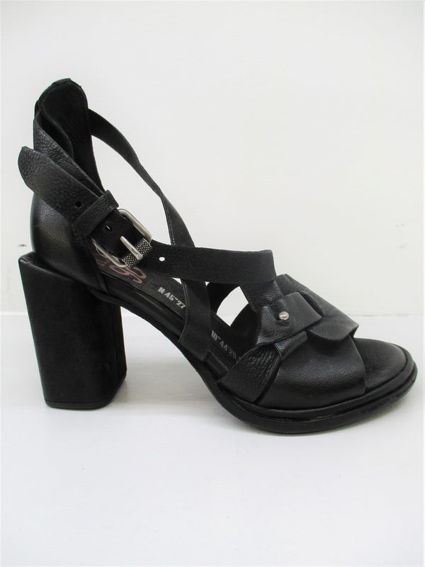 SANDALO PELLE DONNA AS98 A03004 NERO