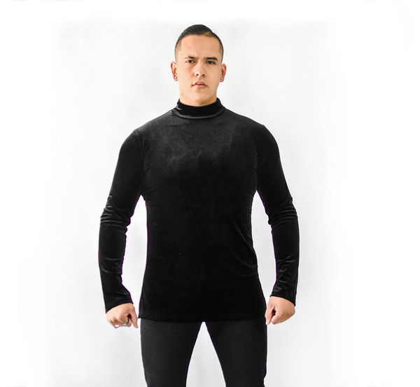 Men's Velvet Long Sleeve Dance Shirt (CW310)