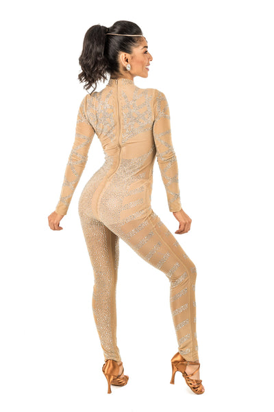 Long Sleeve lace rhinestone bodysuit with accents (620AW)