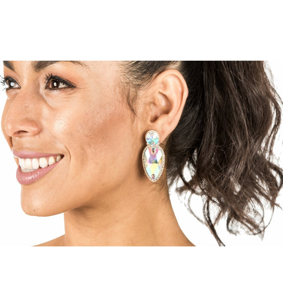 Large Teardrop - Rhinestone Ear Ring (4010)