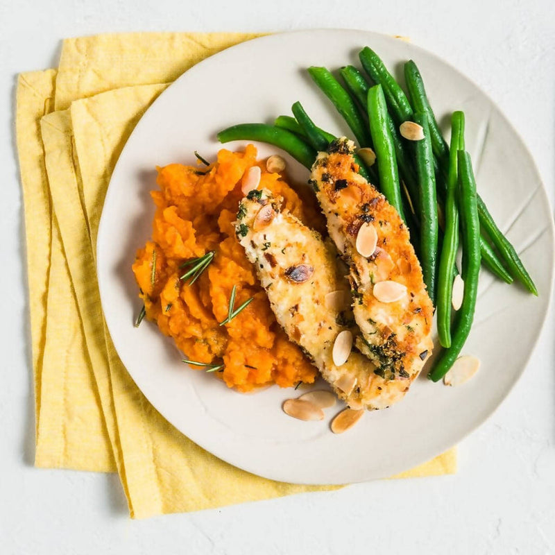 Chicken with Pumpkin Mash, Steamed Green Beans and an Almond and Herb Crumb