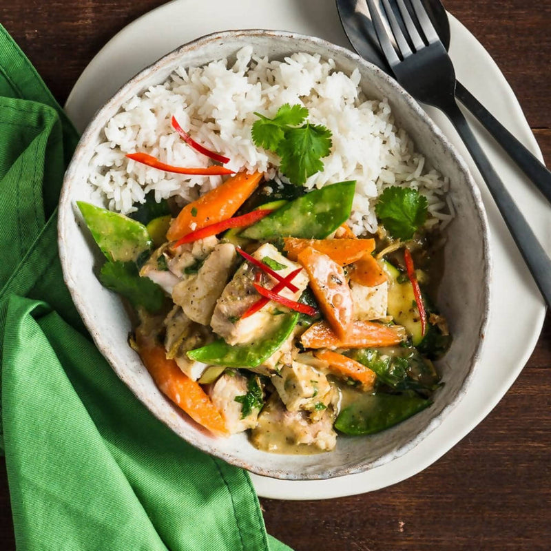 Green Curry Fish with Brown Basmati Rice and Snow Peas