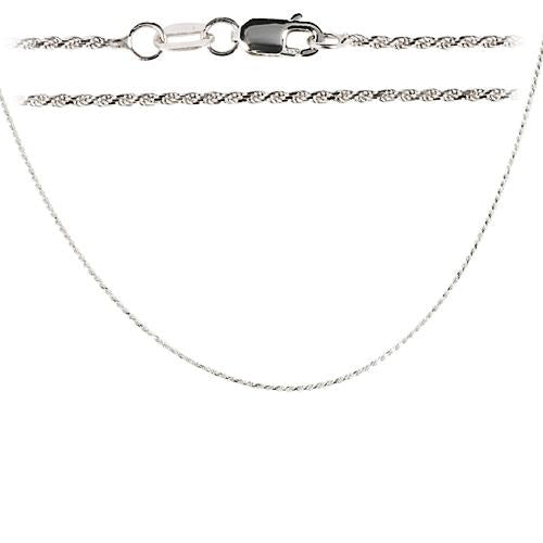 14K White Gold Rope Chain