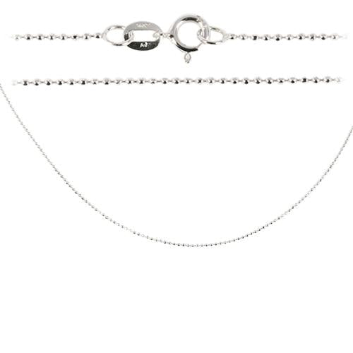 14K White Gold Ball Chain