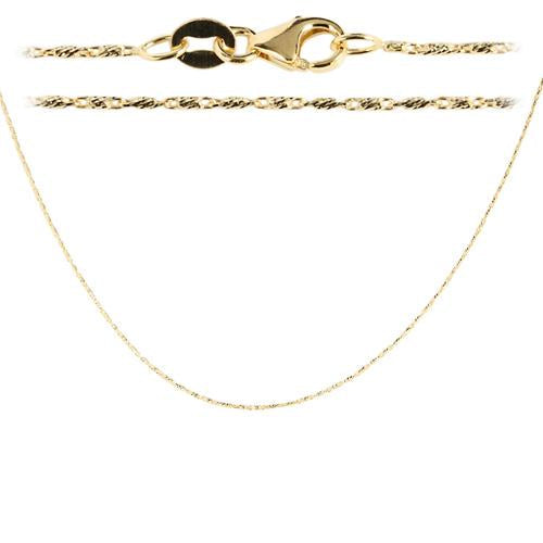 14K Yellow Gold Diamond cut Bar Chain