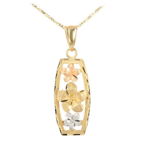 14K Tri-Color Gold Three Plumeria Vertical Pendant(L)