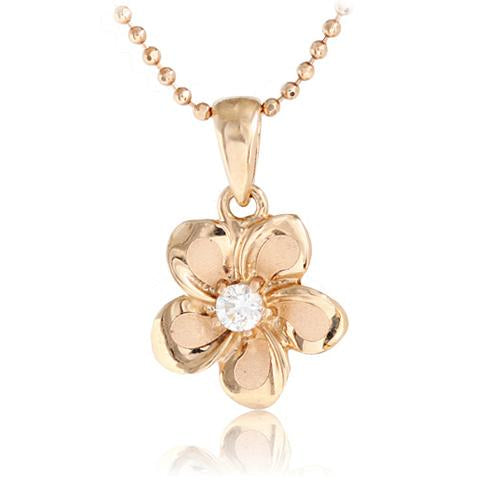 14K Pink Gold Plumeria Pendant 10mm with Clear CZ