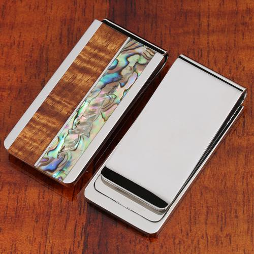 Original Hawaii Koa Wood Abalone Inlaid Stainless Steel Made Money Clip