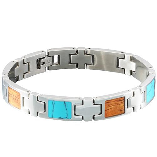 Turquoise Koa Wood Inlay Bracelet - Makani Hawaii Jeweler