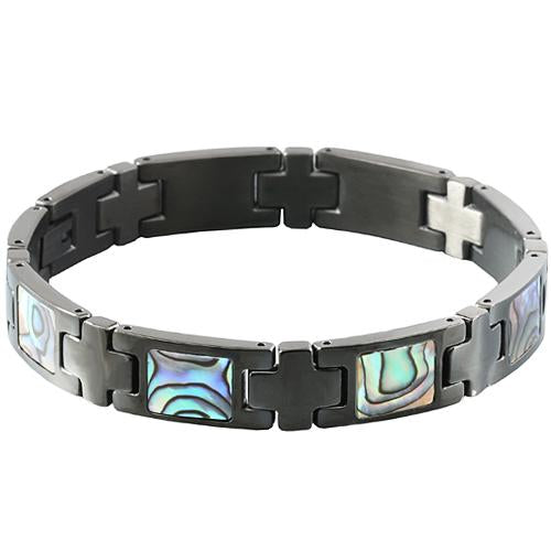 Abalone Inlay Bracelet Iron Plated Black - Hanalei Jeweler
