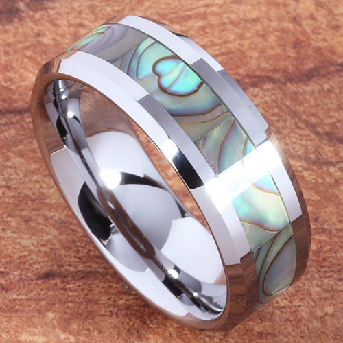 8mm Abalone Shell Inlaid Tungsten Beveled Edge Wedding Ring
