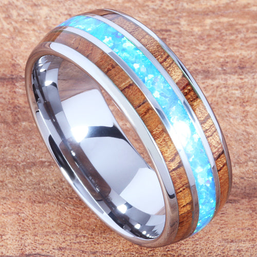 Koa Wood Opal Tungsten Wedding Ring 8mm Triple Row Men's Ring