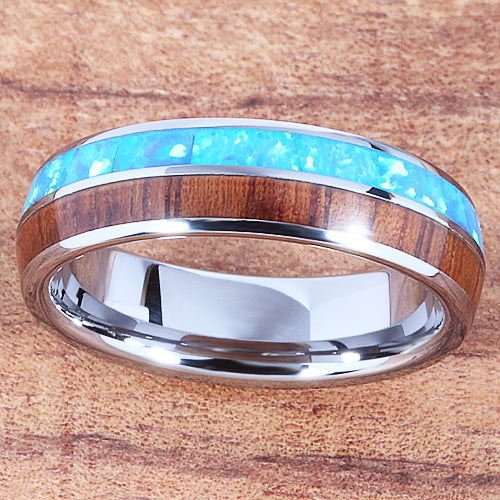 Koa Wood Opal Tungsten Two Tone Wedding Ring Half Wood/Opal 6mm Barrel Shape Hawaiian Ring
