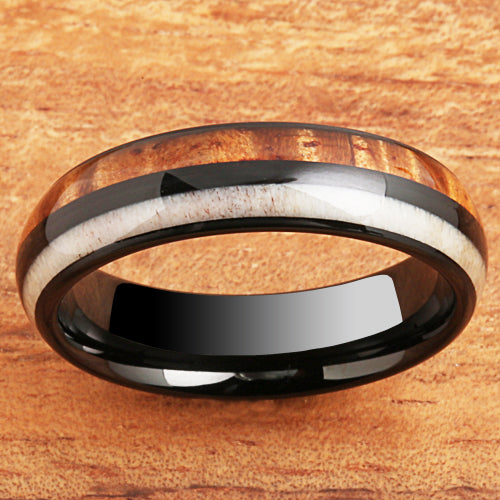 Koa Wood Antler Tungsten Wedding Ring 6mm Barrel Shape Hawaiian Ring
