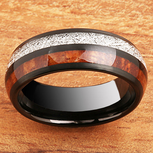 Koa Wood Meteorite Tungsten Two Tone Wedding Ring 8mm