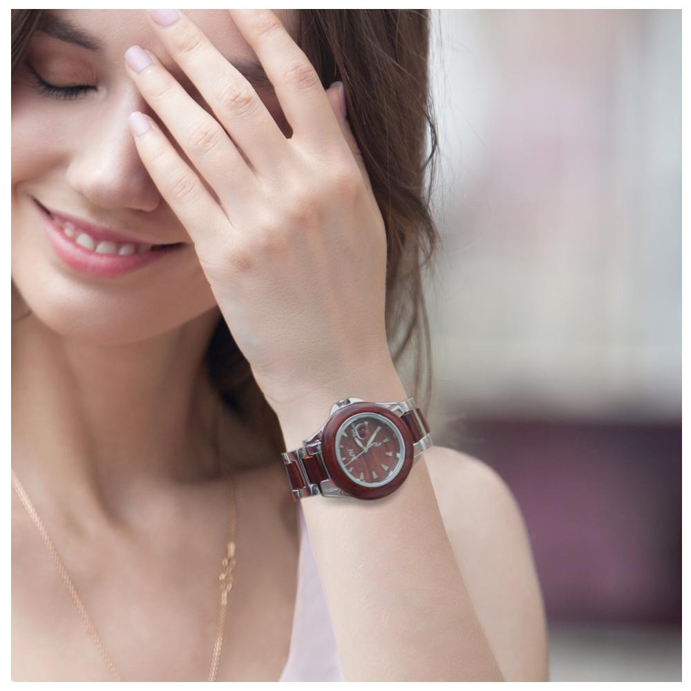 Ladies Wooden Watch Rose Wood and Stainless Steel Bracelet Number Dial - Makani Hawaii Jeweler