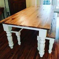Load image into Gallery viewer, Custom built farm table with wood turned legs