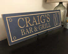 Load image into Gallery viewer, man cave bar & grill carved sign
