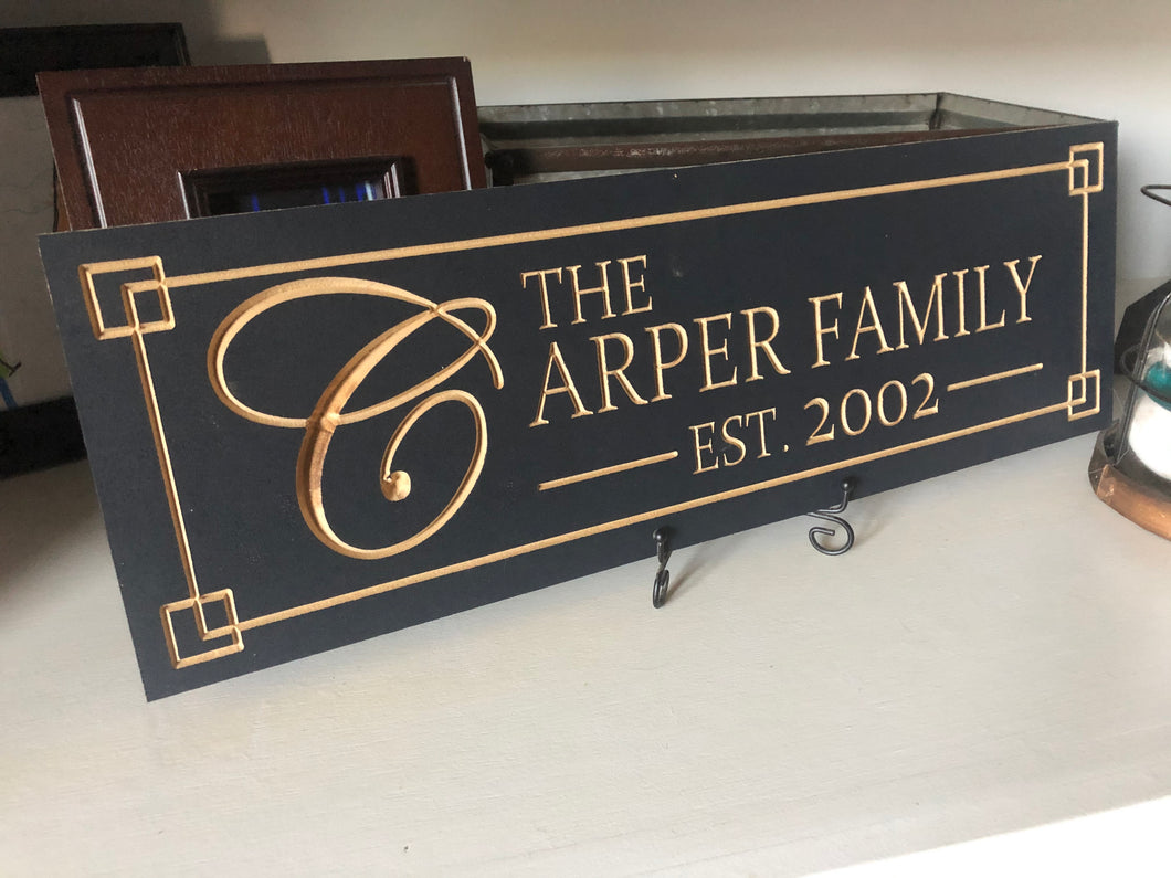 Personalized Established Wood Carved Sign