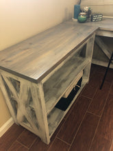 Load image into Gallery viewer, Custom Wood Desk | Wood Bookshelf | Rustic Farmhouse Office Furniture