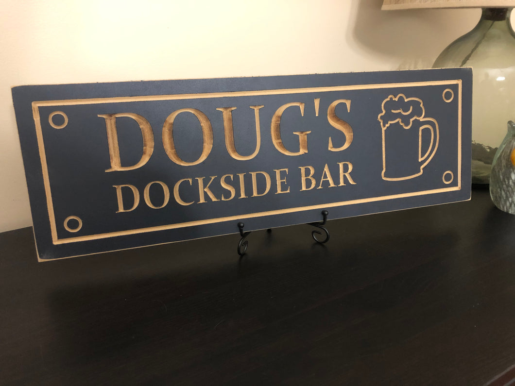 Wood carved boat dock bar sign