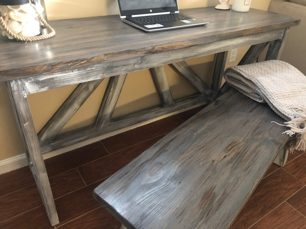 Custom Wood Desk | Rustic Farmhouse Furniture | Wood Bench