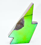 """Failed 90's Superhero Symbol"" Green Agate Bookshelf Decor - Dark Matter Magazine"