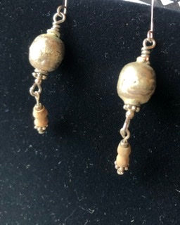 African Trade Bead Dangling Earrings