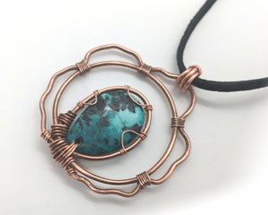 Floating African Turquoise in Copper