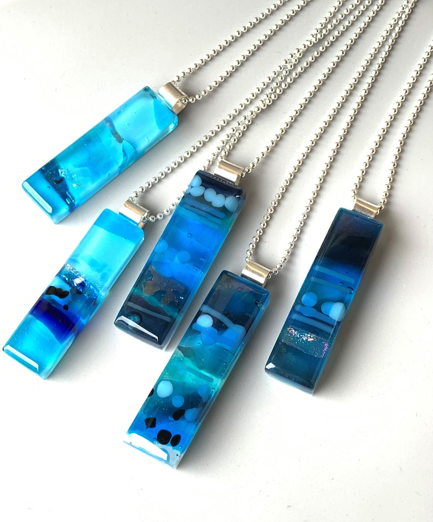 Blue Glass Impressions Necklace