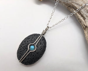Lava Oval with Turquoise Inset