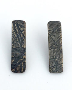 Oxidized Rectangle Stud Earring