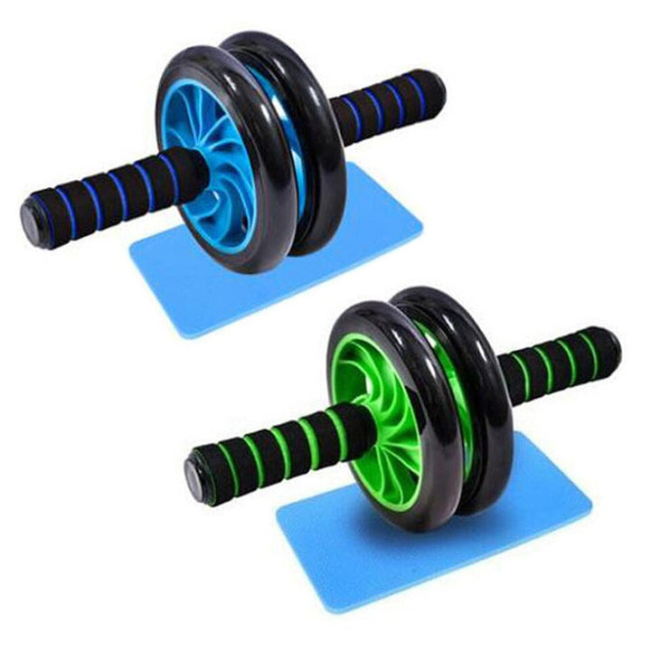 Blue with green Double Abdominal Roller's + Knee Pad