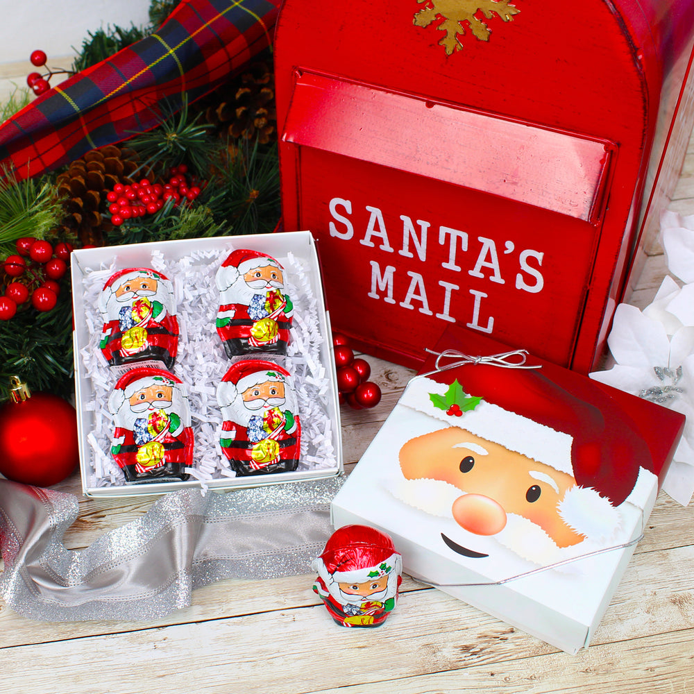 Foil Wrapped Milk Chocolate Santa Gift Box (4 Santas)