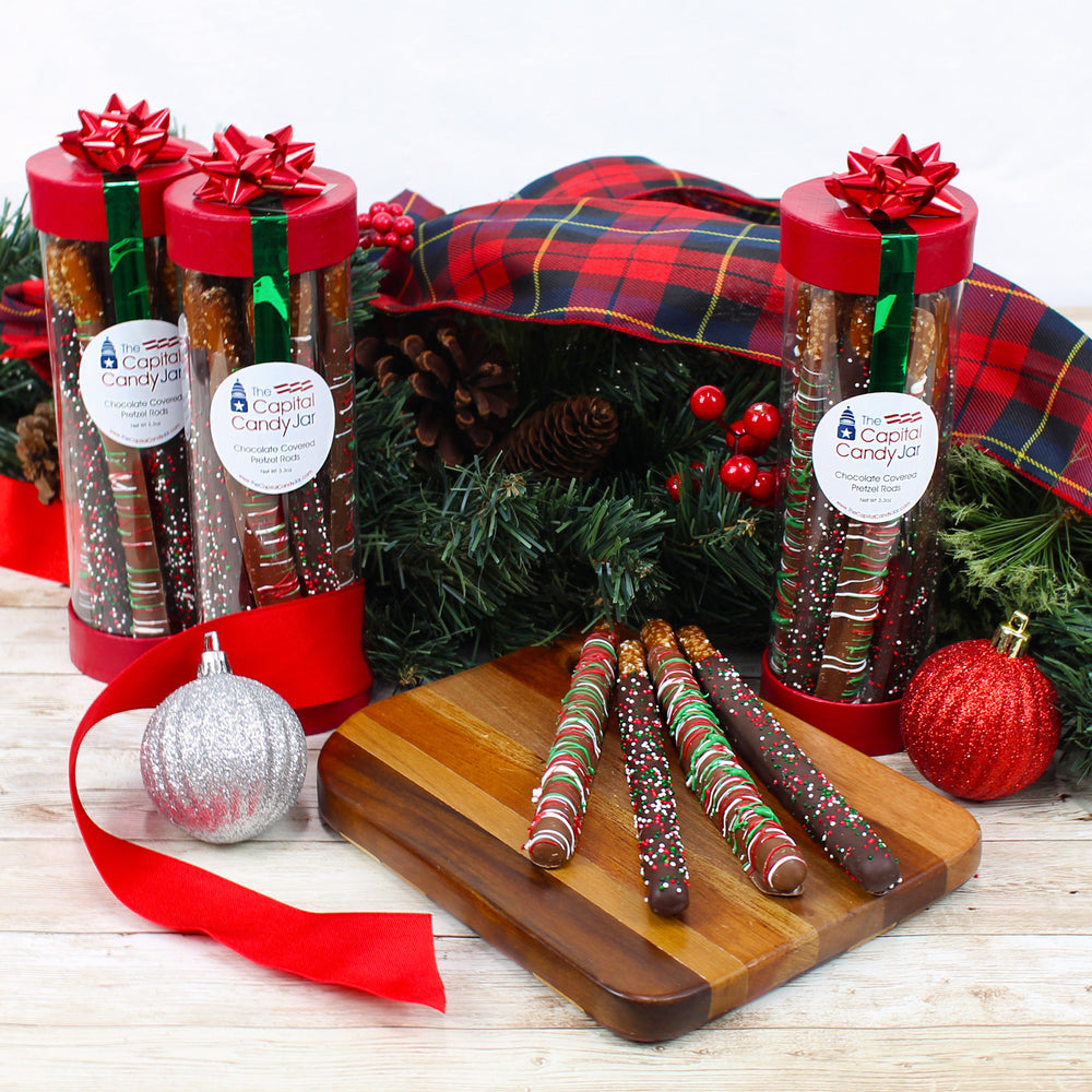 Chocolate Covered Pretzel Rods-Christmas Canister (10 Pretzels)