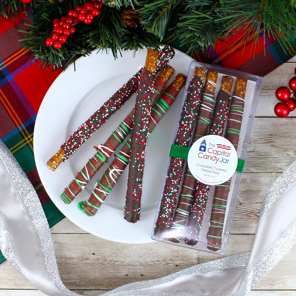 Chocolate Covered Pretzel Rods-Holiday (4 Pretzels)
