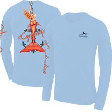 Load image into Gallery viewer, Anchors Away - Carolina Blue, Mermaid Design, Mens Crew Neck Long Sleeve