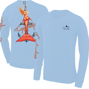 Anchors Away - Carolina Blue, Mermaid Design, Mens Crew Neck Long Sleeve