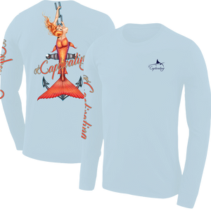 Anchors Away - Light Blue, Mermaid Design, Mens Crew Neck Long Sleeve