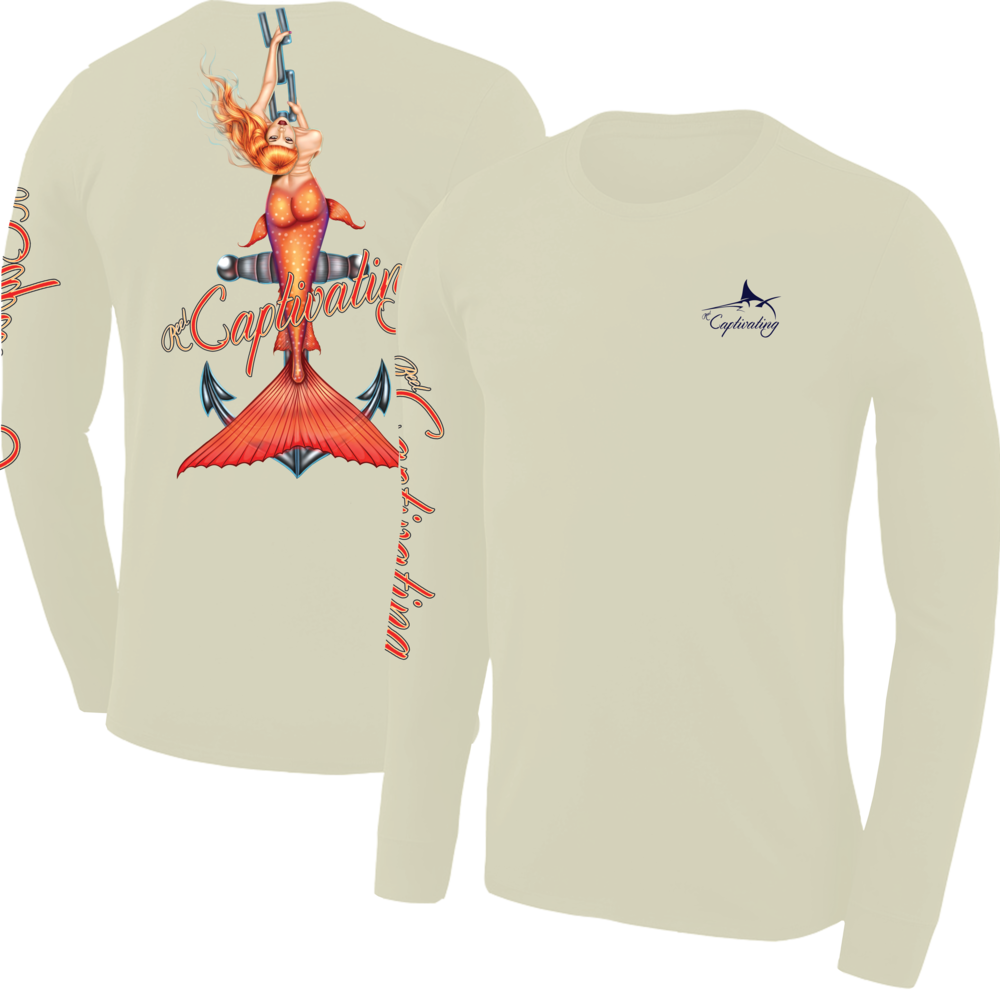 Anchors Away - Mellow Yellow, Mermaid Design, Mens Crew Neck Long Sleeve