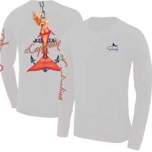Anchors Away - Light Grey, Mermaid Design, Mens Crew Neck Long Sleeve