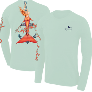 Anchors Away - Green, Mermaid Design, Mens Crew Neck Long Sleeve