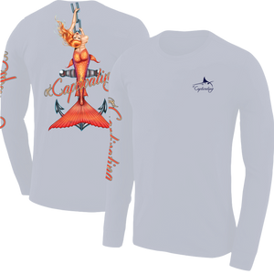 Anchors Away - Grey, Mermaid Design, Mens Crew Neck Long Sleeve