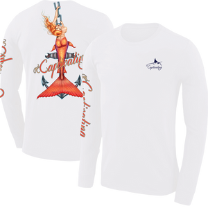 Anchors Away - White, Mermaid Design, Mens Crew Neck Long Sleeve