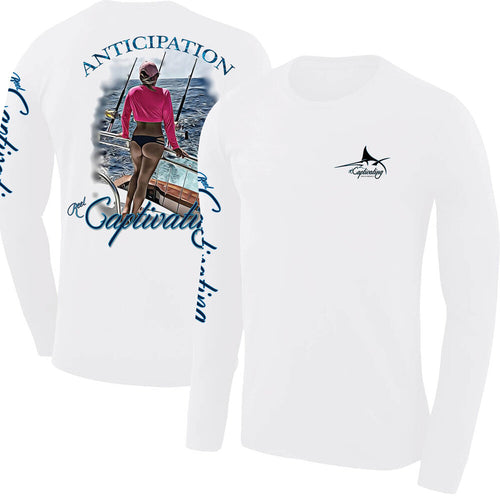 Anticipation Design - White, Woman Looks over Open Water Design, Mens Crew Neck Long Sleeve