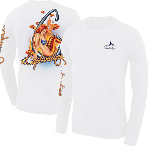 Flame Angel Mermaid Design - White, Men's Long-Sleeve Crew Neck