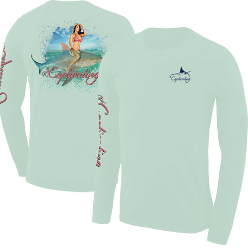 Bull Shark Rider Design - Light Green, Mens Crew Neck Long Sleeve