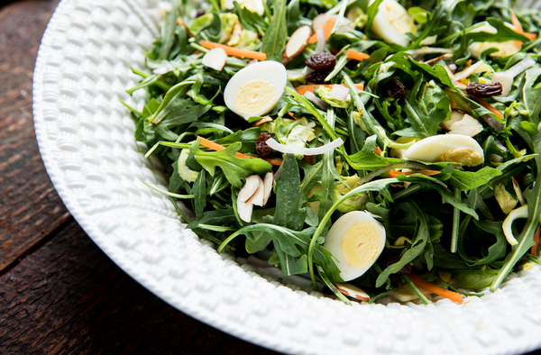 Recipe: Brussels Sprout-Arugula Salad with Quail Eggs