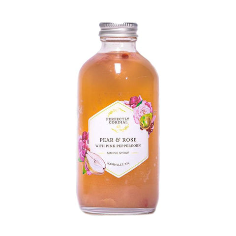 Perfectly Cordial Pear and Rose Simple Syrup