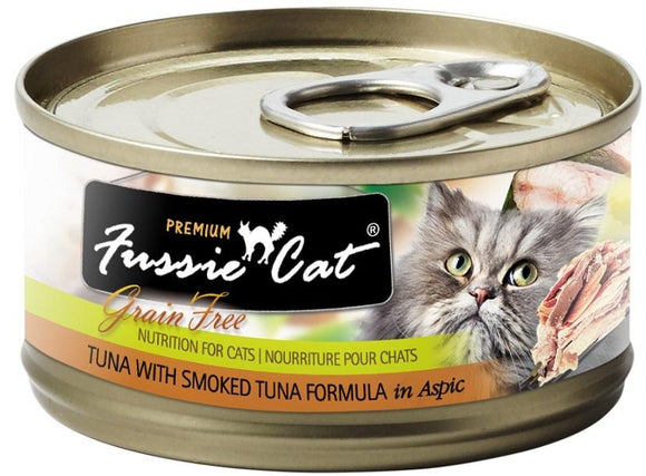 Fussie Cat Premium Grain Free Tuna with Smoked Tuna in Aspic Canned Cat Food